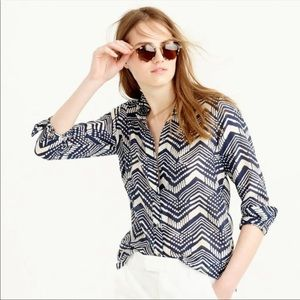 J. Crew Button Down Boy Shirt in Multi Chevron 00